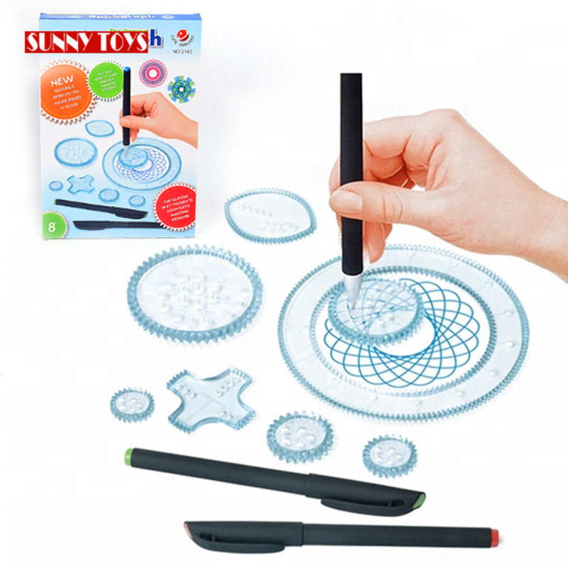 DIY educational spirograph drawing toys set kids painting templates accessories toy spirograph with color pens