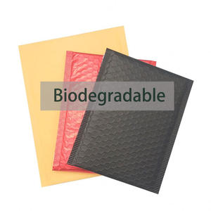 Eco friendly soft inside pink brown black biodegradable kraft paper padded custom poly 100% compostable bubble mailer