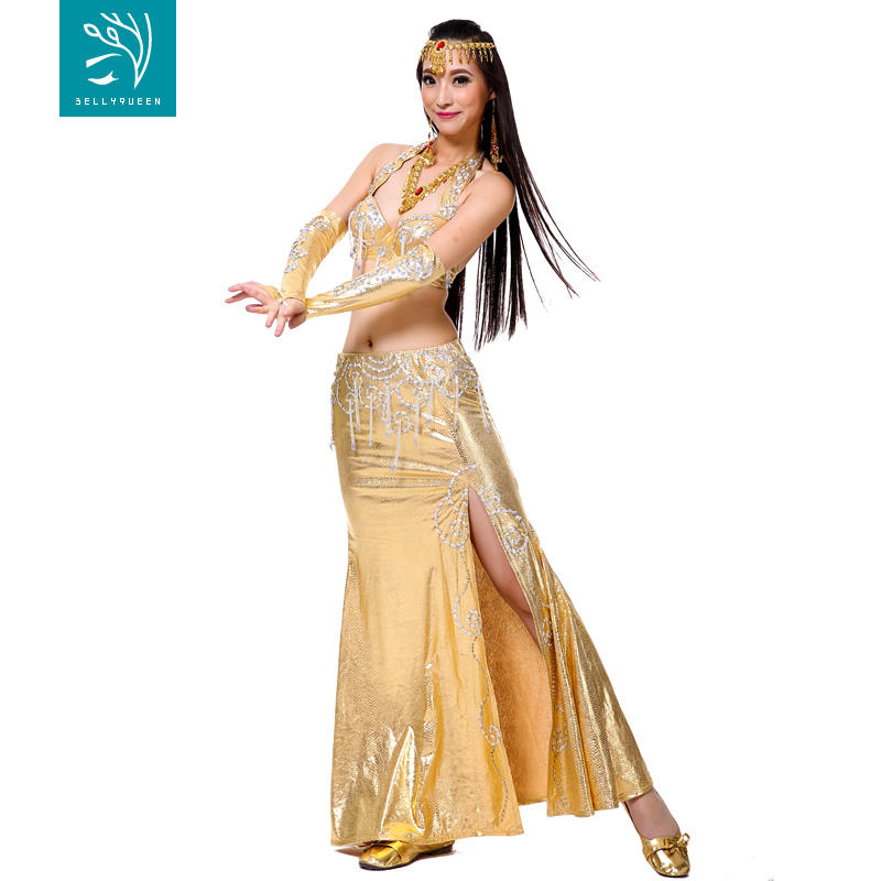 FEOYA Kids Girls Belly Dance Dress 5-Piece Set Bollywood Indian Arabian Performance Costume Carnival Outfit Sequined Crop Top with Skirts 4 Colors
