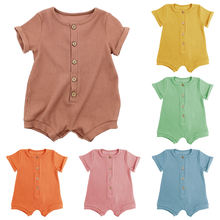 2021 wholesale summer boutique bamboo clothing newborn toddler girls and boy short baby clothes rompers