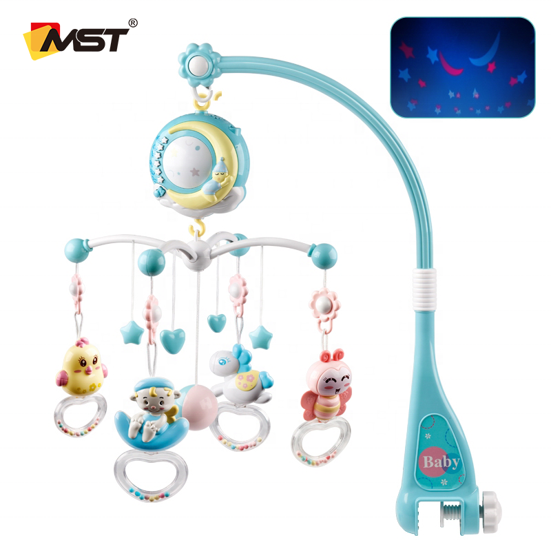 MST Hot Sell Bed Bell Musical Projection Box Hanging Rattle Bracket Holder Baby Crib Mobiles Toys