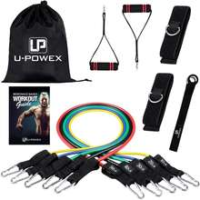 11 pcs pieces wholesale soft custom logo fitness gym natural latex resistance bands exercise set with foam handle clips