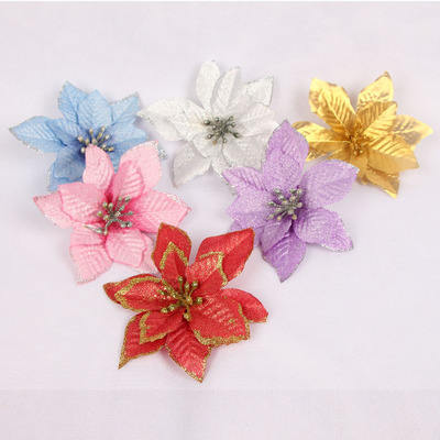 Christmas decorations solid color gold powder edge Christmas flower 13cm small flower