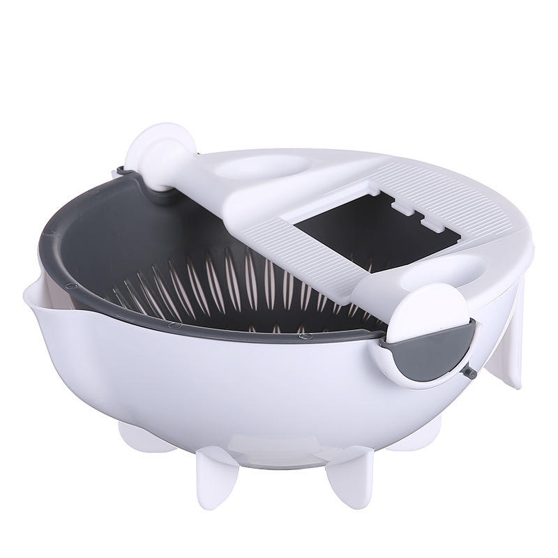 Kitchen Plastic Double-Layerl Shredder 9 in 1 Strainer fruits and vegetables Slicer Drain Water Basket