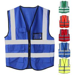 Hi Vis High Viz Visibility Vest Waistcoat Safety with Phone & ID Pockets 5Colors