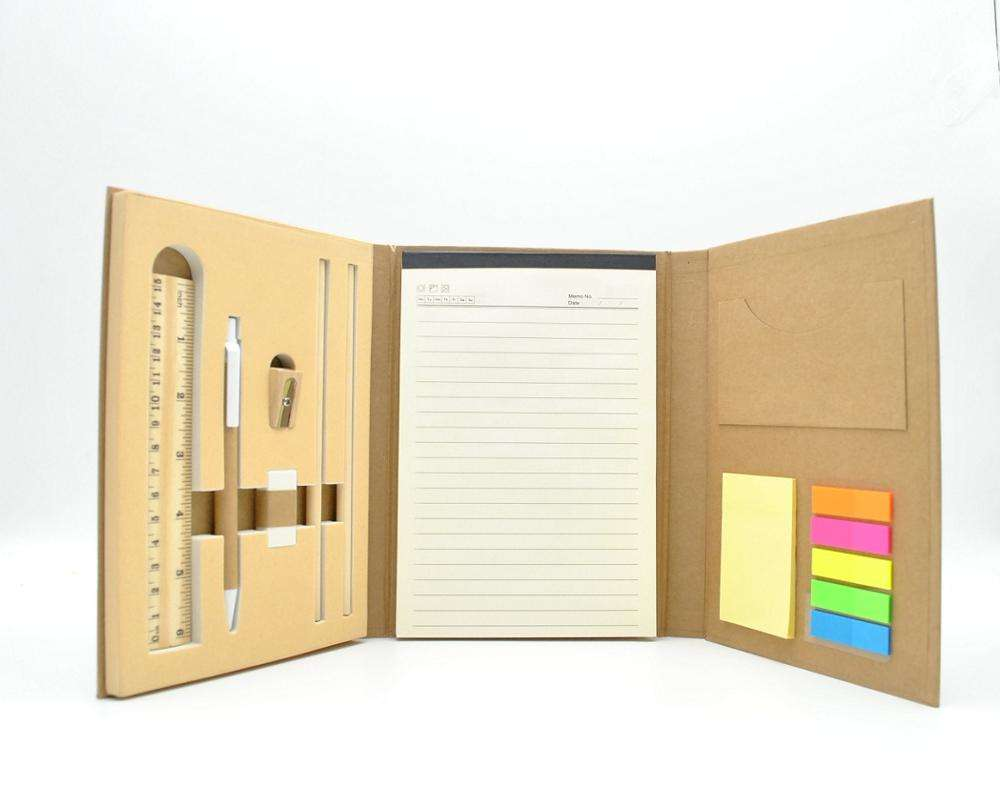 Personalizado Eco friendly kraft caderno de capa dura notepad com sticky notes/lápis/régua/apontador/borracha para promocional