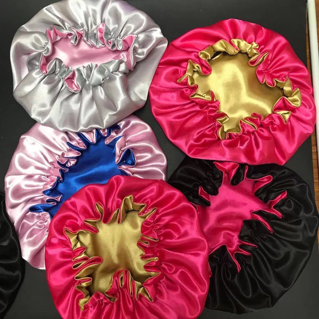 Wholesale High Quality Personalized LOGO Custom Silk Sleep bonnet Colorful Real Satin Double Layer Bonnet With Logo Accessories