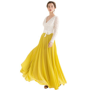 High waist chiffon maxi skirt pleated women long skirt