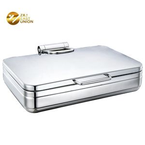 1/1 Food Pan Hydraulic Hinge Buffet Electric Food Warmer Chafing Dish Glass Lid 9 qt Rectangle Stainless Steel Chafer Body