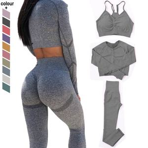 3PCS Womens Workout Clothes Exercise Sportswear Long Sleeves Seamless Yoga Set Activewear Sets For Women