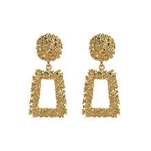 New Arrival Big Geometric Trapezoid Emboss Piercing Dangle Earrings Gold Tone Metal Square Drop Earrings For Girls