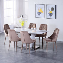 Nordic style cheap price mdf top Panel tables and velvet  chairs dinning room furniture dining tables  set