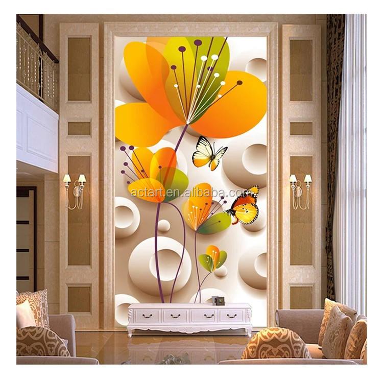 الأزياء الزهور جداريات الفنان بلاط حوائط حمام رغوة الموز أوراق مضاد للجراثيم خلفيات
