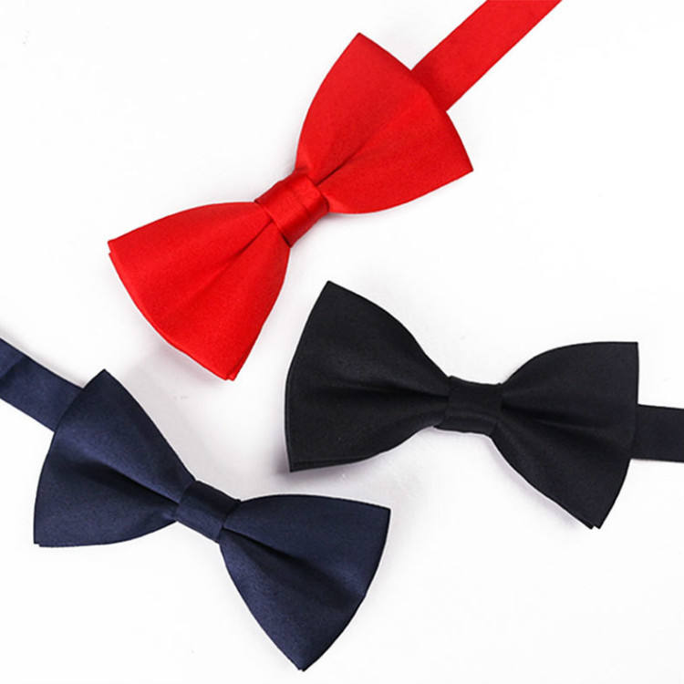 Solid color polyester made parent-child bow tie three optional colors and sizes bow tie stock wholesale