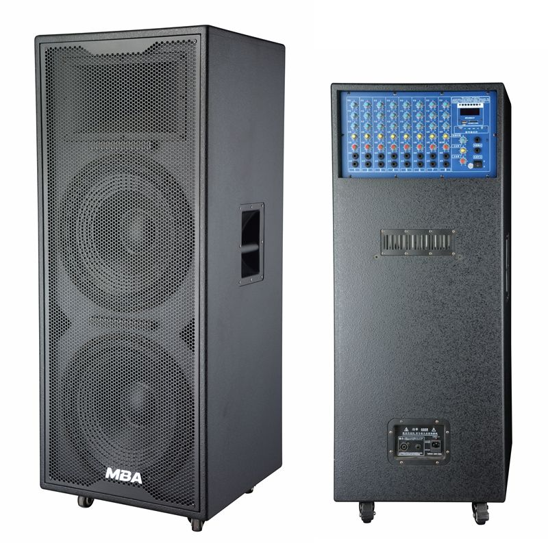 MBA Double 12inch portable speaker trolley No battery Big power dj bass speakers active professional outdoor Speaker