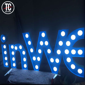 Outdoor Vrijstaande Led Knipperende Lamp Letters 3D Licht Up Marquee Letters