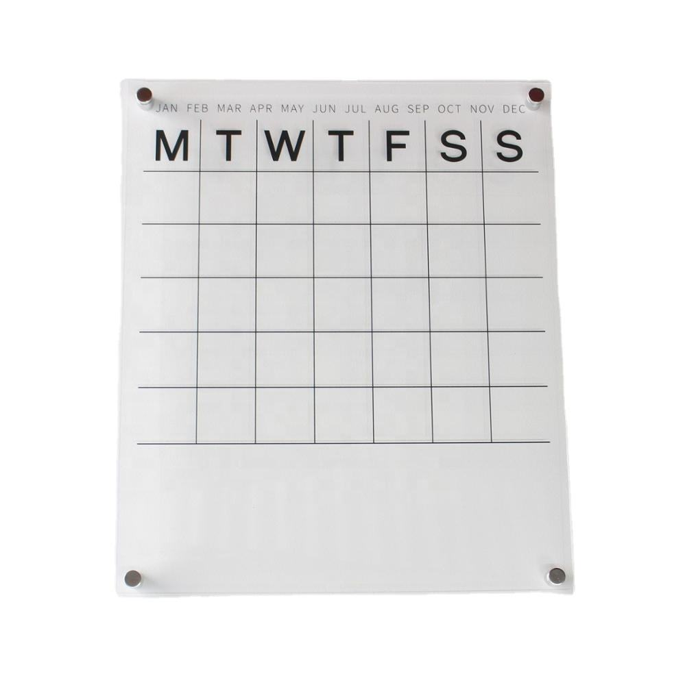 Neoteric Clear Acrylic Wall Calendar with Note Space