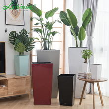 Leizisure Novelty Square Cylinder Large Plastic Garden Planter Flower Pots with Self Watering System