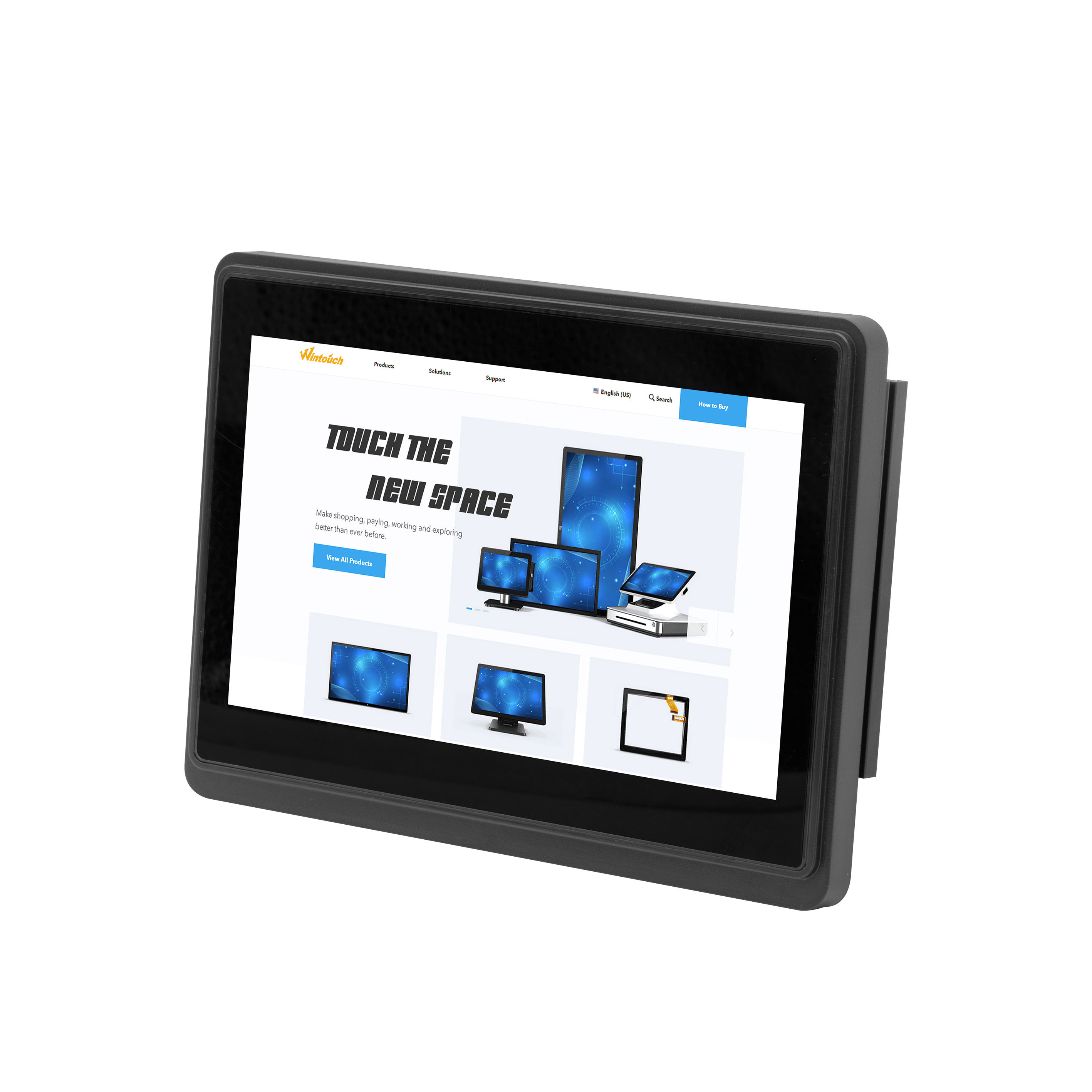 Hot selling square lcd monitor 7 inch usb touch with power supply monitor