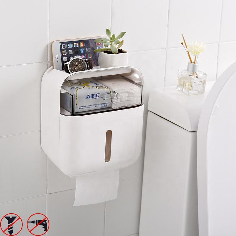 Premium Wall-Mounted tissue box holder Waterproof Bathroom paper holder multifunctional tissue box plastic