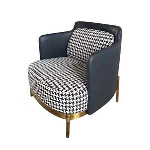 Customized sofa chair hotel lounge sofa modern simple cloth art houndstooth wooden sofa chair living room furniture