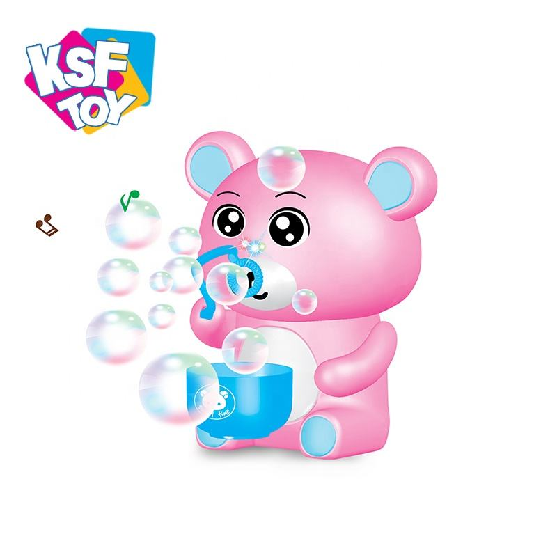 summer musical cartoon bear machine blower water bubbles for kids with light