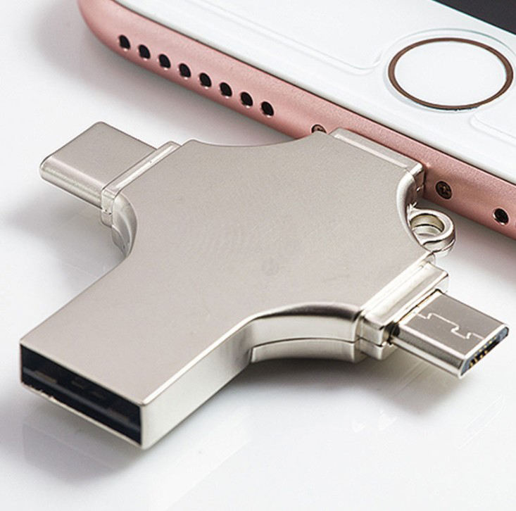 4 In 1 Usb Otg Flash Drive 32Gb 64Gb 128Gb Usb 3.0 Type C Telefoon Externe Opslag voor Iphone Ios Lightning Android Windows