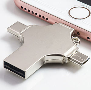 OTG Flash Drive 4 In 1, USB Flash Drive 32GB 64GB 128GB USB 3.0 Tipe C Penyimpanan Ponsel Eksternal untuk iPhone IOS Android Windows