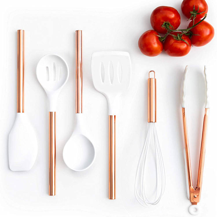 6 piece silicone kitchen cooking tools with stainless steel copper handle for modern serving