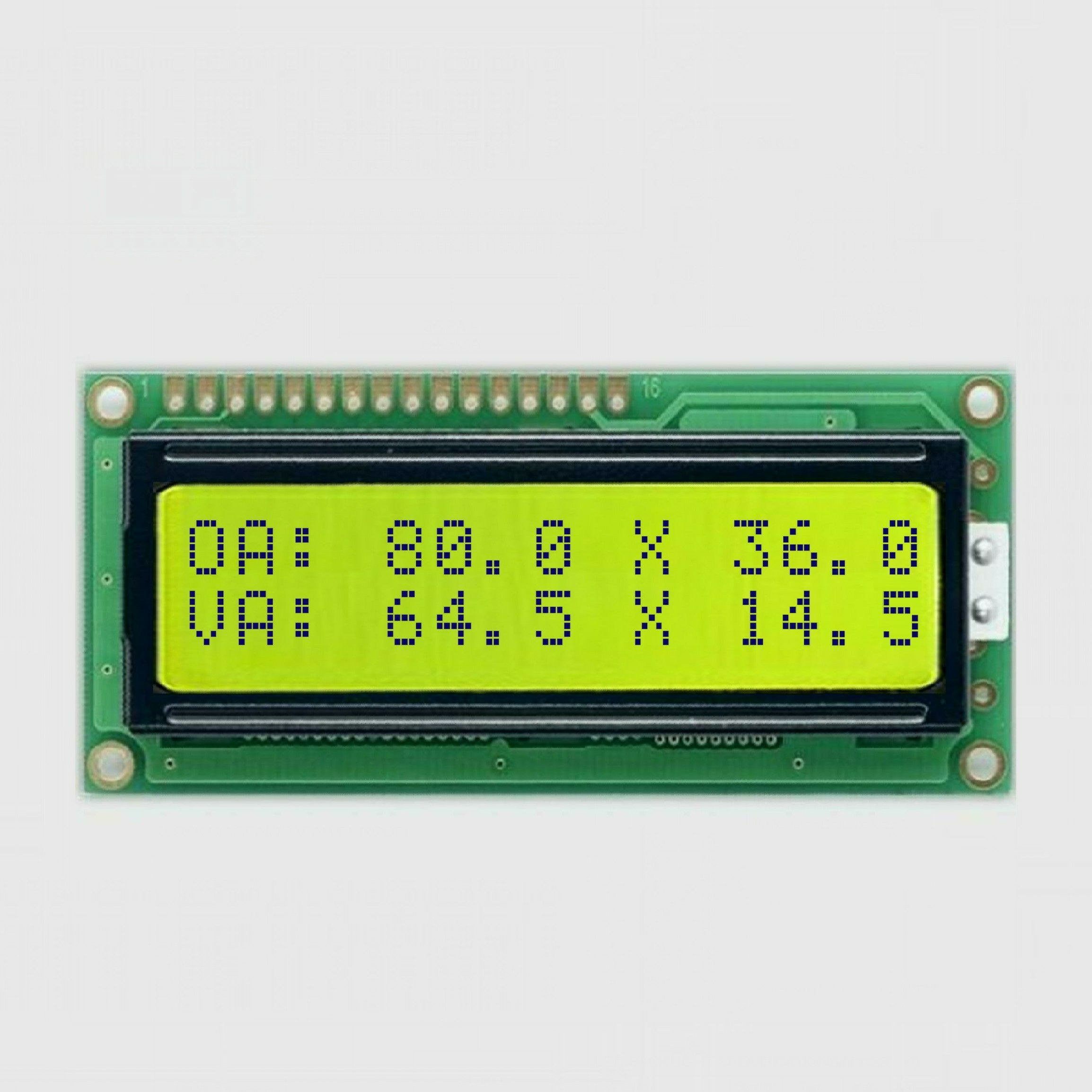 lcd display module 16x2 character scree panel with controller hd44780 equivalent STN yellow green mode 5V power supply 8bits