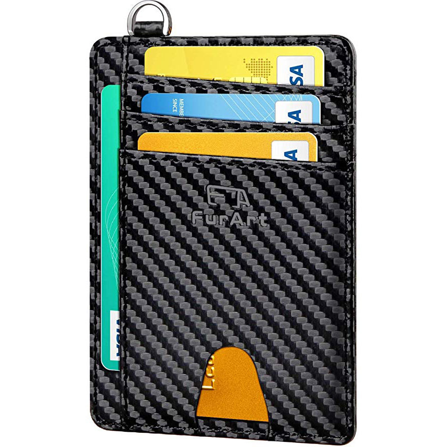 RFID Faraday Carbon Fiber Blocking Bag Wallets Car Key Pouch Signal Protection, Credit Card Holder