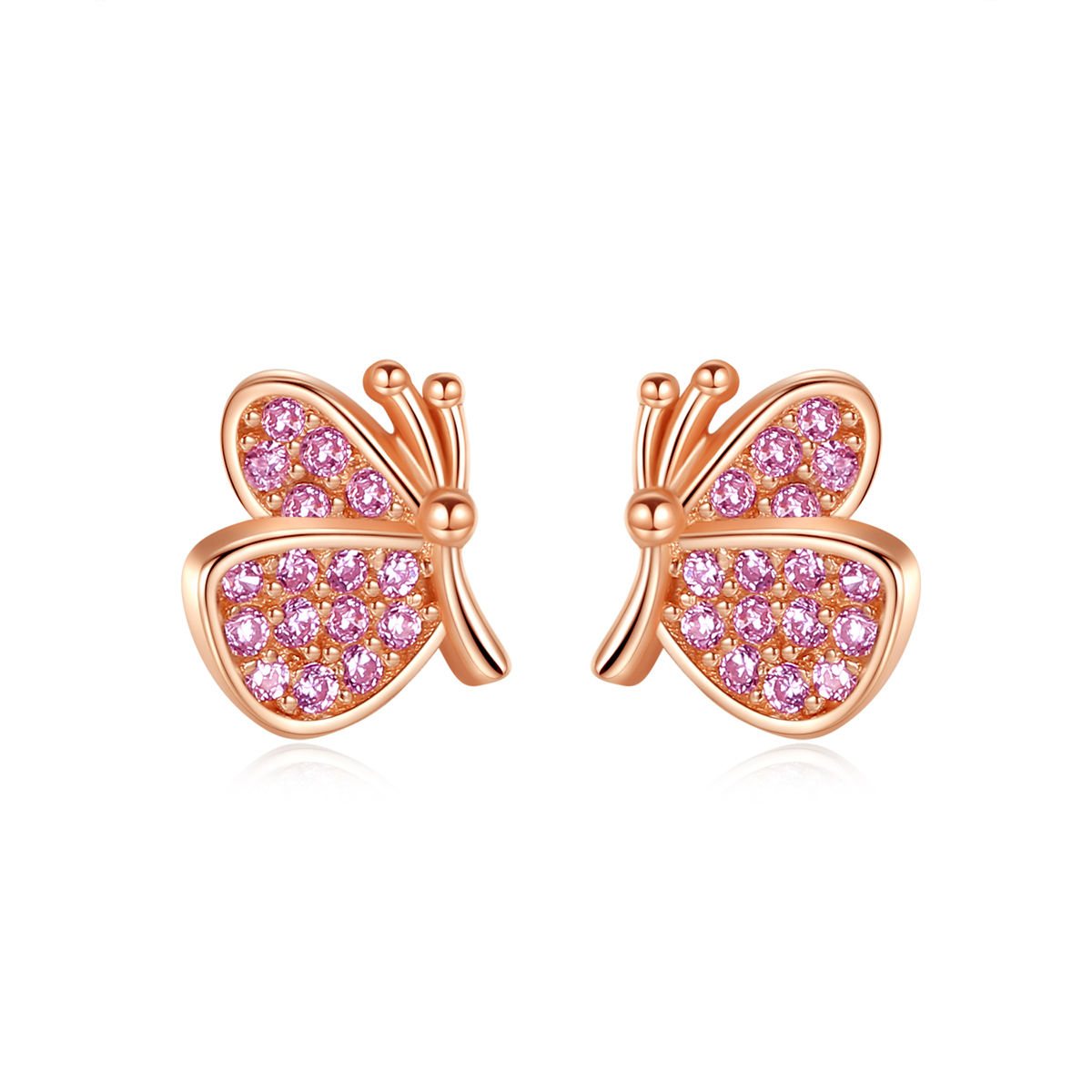 CZCITY Women Pink Butterfly Wing Earring Stud 925 Sterling Silver Zircon Diamond Butterfly Earrings