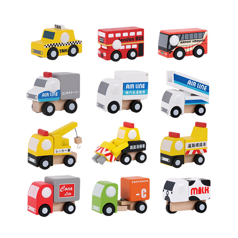 Wooden pretend play toy 12 Units Set of Different Wooden Vehicles Cars Trucks Toys Small Size Promotional Gifts