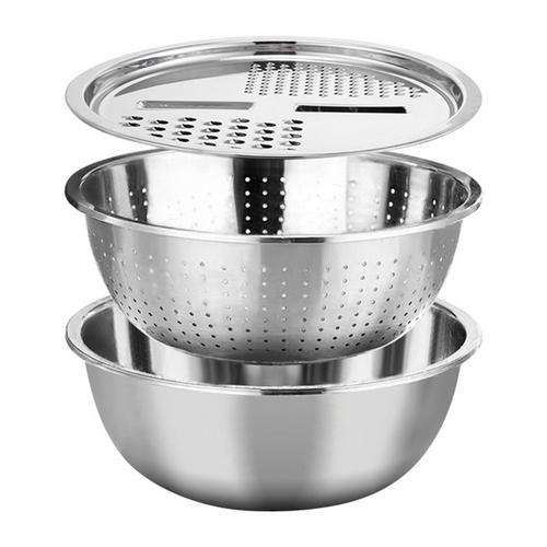 Kitchen Grater Set with Stainless Steel Drain Basin for Vegetables Fruits Wash Cutting
