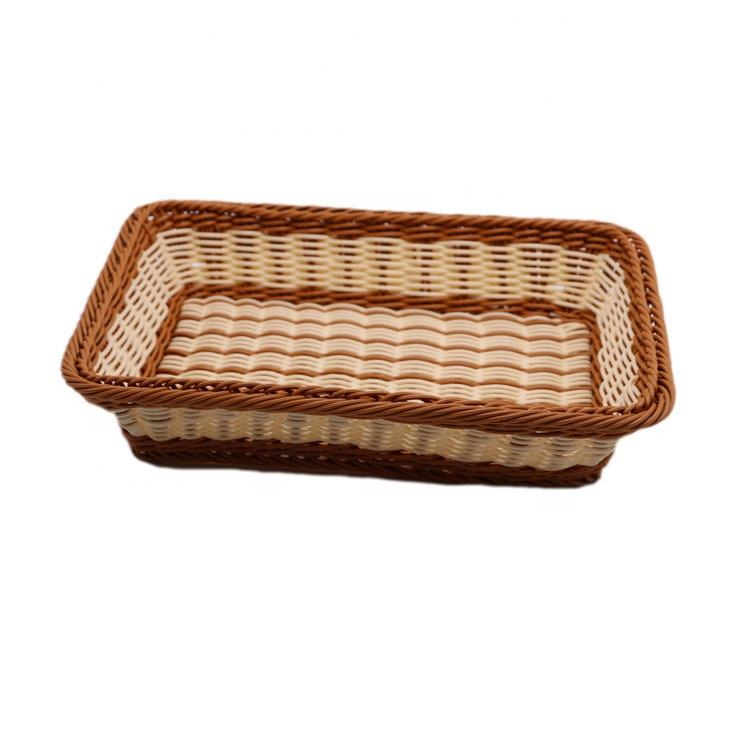 Rectangle PP Rattan Storage Basket for Household Supermarket Display