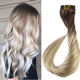 Wholesale ombre colored lace full head virgin Brazilian remy 100% human clip in hair extension