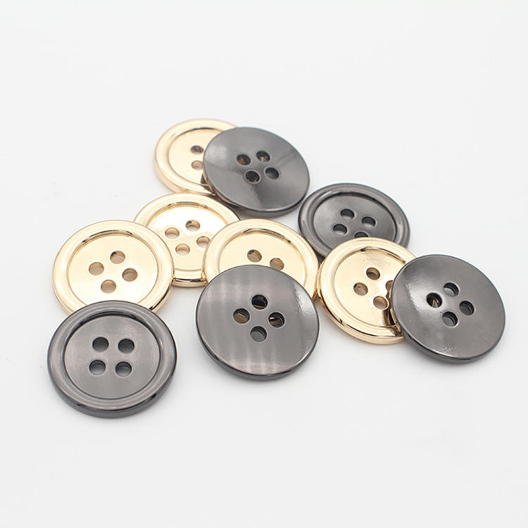 Hanging Black Gun Metal Gold Sewing Customized Fine Edge 4 Hole Metal Alloy Buttons