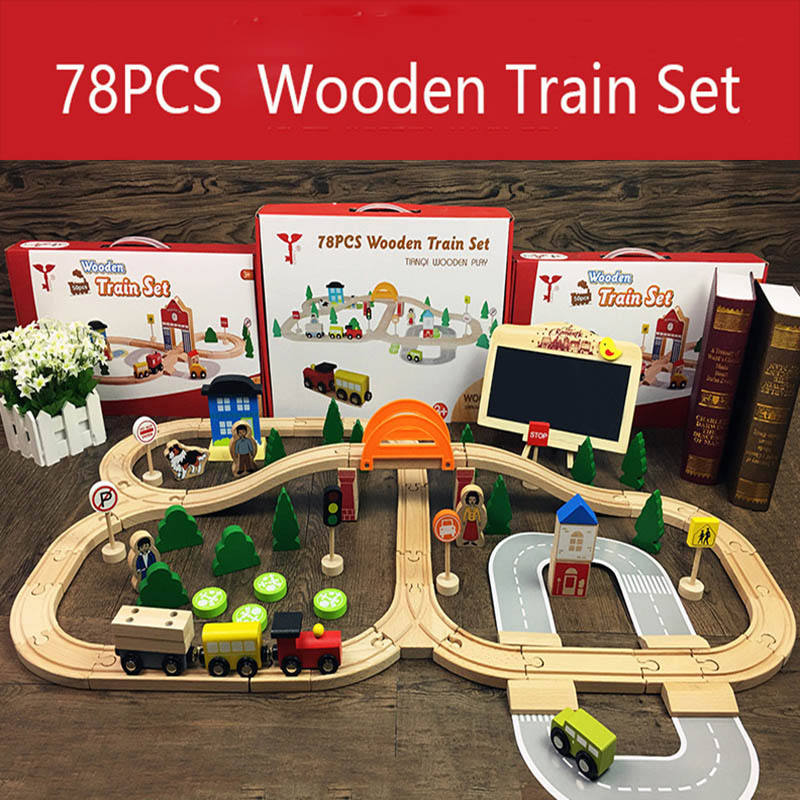 78Pcs Wooden Train Track Toys Magical Magnetic Rail Bridge Station Magnetic Car Educational Toys For Children Brio Trains Cars