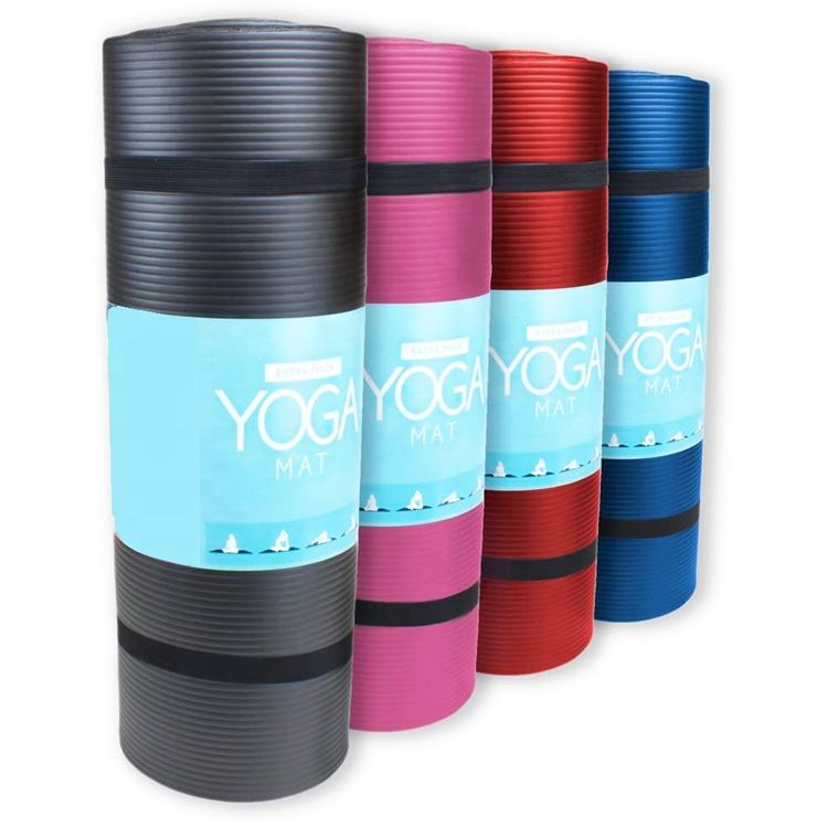 Factory wholesale non-slip eco friendly exercise natural marked extra thick fitness NBR Yoga Mat with strap