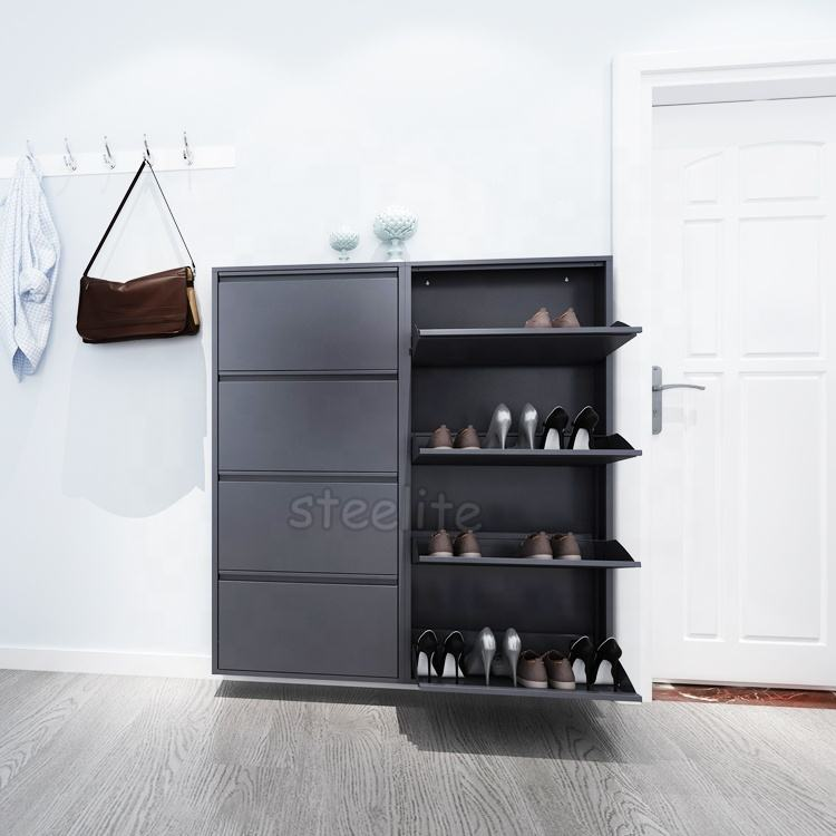 Modern Economical Panel Shoes Cabinet / Metal Shoe Rack Designs