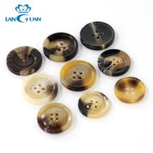 sewing eco-friendly 4-holes horn pattern resin windbreaker coating button