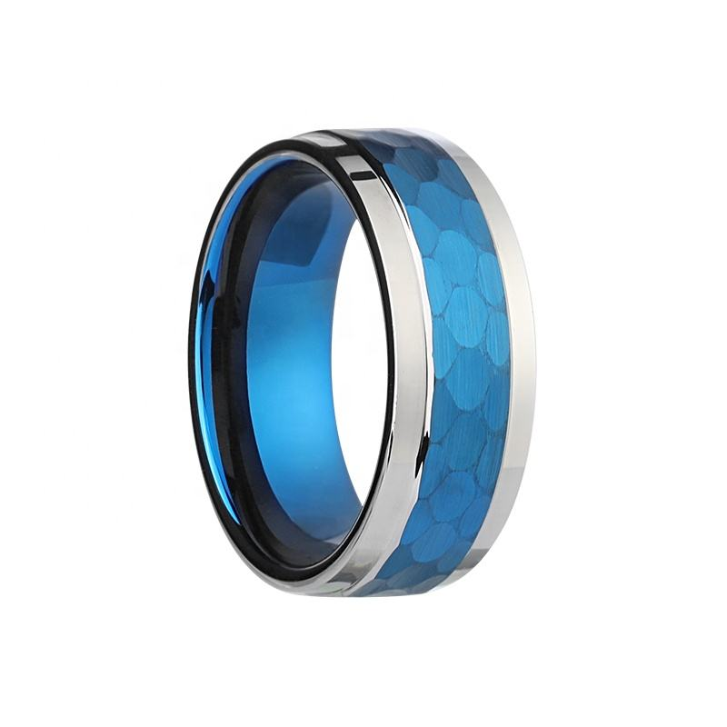 2021 XYS Hammered PVD Blue Plating Comfort Fit Tungsten Carbide Men Rings