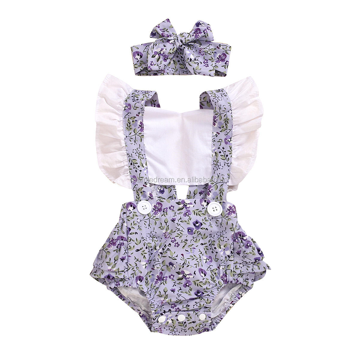 Boutique Baby Girl Rompers Sweet Floral Kid's Clothing Amazon Hot Selling Infant Bodysuit