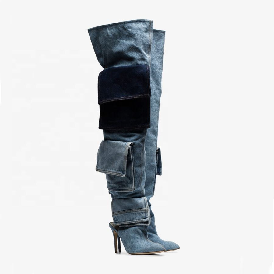 Novel design denim high heel over the knee boots women long boots