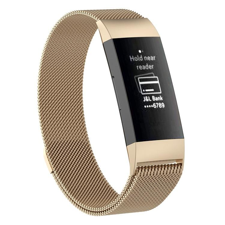 for Fitbit Charge 3/4 Magnetic Adsorption Replacement Strap with Quick Fit Stainless Steel Milanese Loop Watch Band