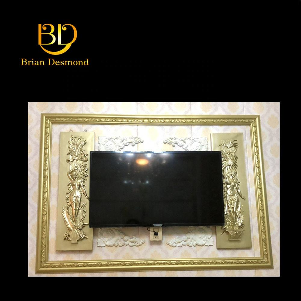 modern minimalist decorative material White 8 feet polyurethane mirror frame mouldings use for TV background wall