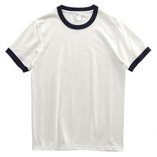 260g 100% Cotton T-shirt Contrast Roller Neck May Retro Short Sleeve T-shirt Ringer Tee