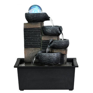 Feng Shui Fountain Decorative Buckets layers Running Water Figurines Resin Fountain Figurine For Home Garden Decor