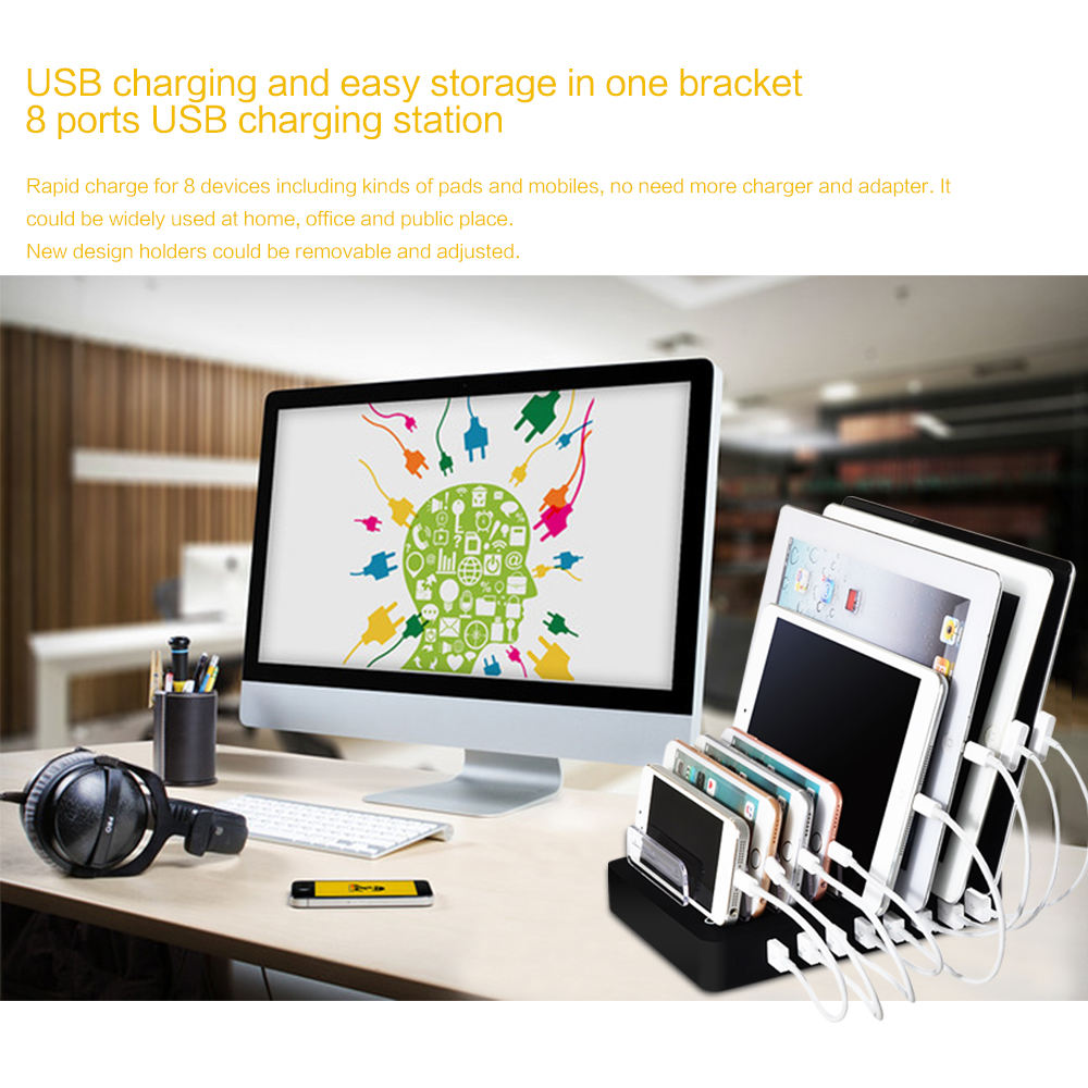 High quality mobile phone charger dock with 8 USB ports cell phone charger station + detachable holder desktop tablet charging