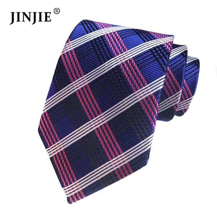 Retail New Polyester Ties for Short 8cm Slim Silk Grid Stripes Men Neck Ties on Wedding